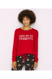 PJ Salvage Wake Me For Presents Women's Lounge Top - Front cropped