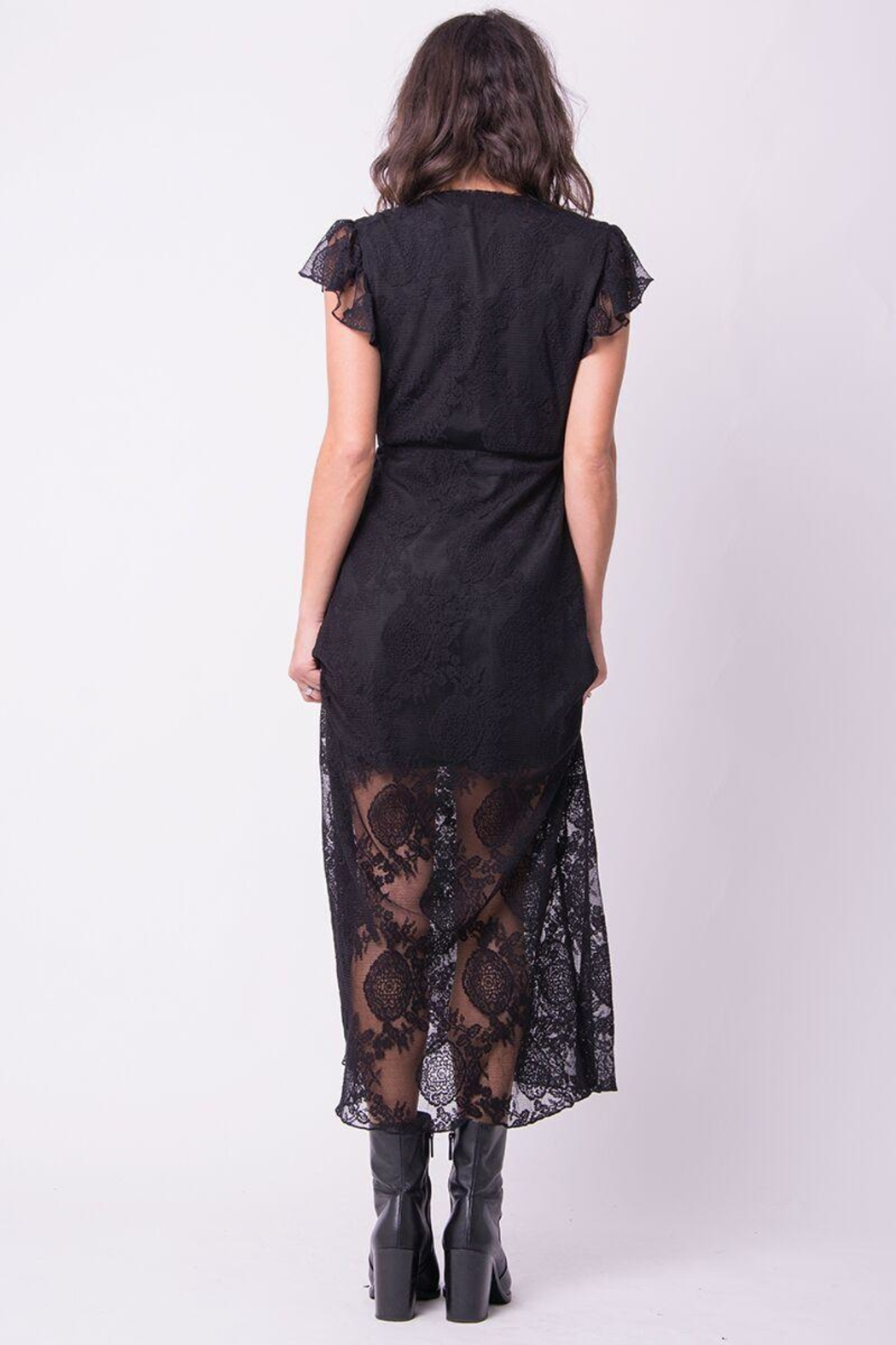 Wanderlux Black Lace Dress - Front Full Image