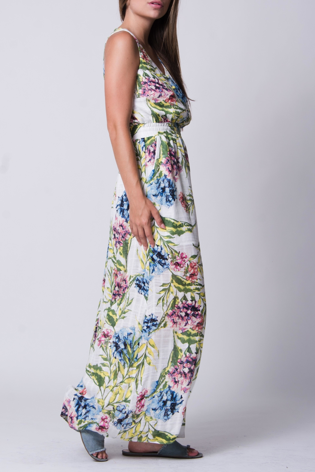 Wanderlux White Floral Maxi - Side Cropped Image