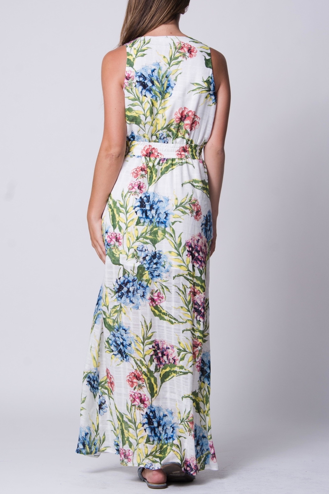 Wanderlux White Floral Maxi - Back Cropped Image