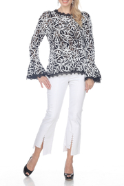 AZI Jeans Wanita Lace Macrame Bell Sleeve Top - Product Mini Image