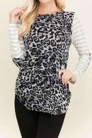 Wanna B Animal/stripe Top - Front cropped