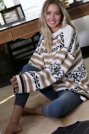 Wanna B Aztec And Stripe Knit Pullover Sweater Top - Product Mini Image
