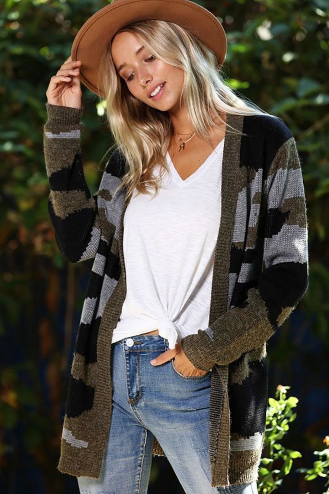 Wanna B Camouflage Open Front Cardigan - Main Image