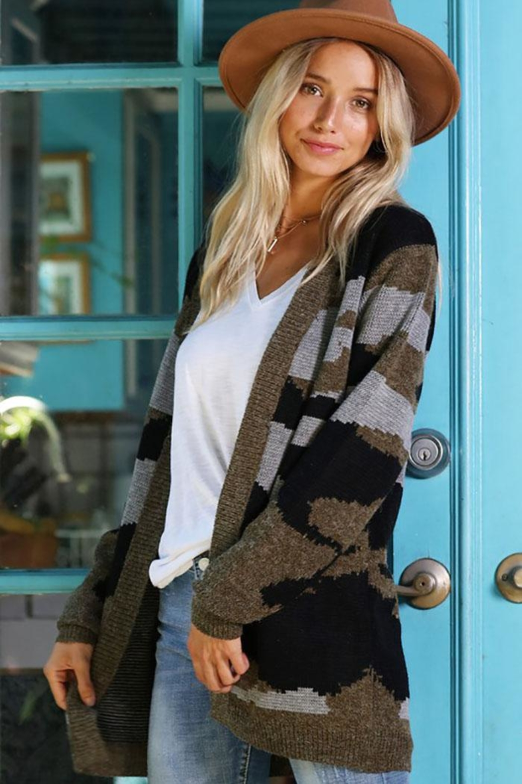 Wanna B Camouflage Open Front Cardigan - Front Full Image