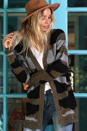 Wanna B Camouflage Open Front Cardigan - Side cropped