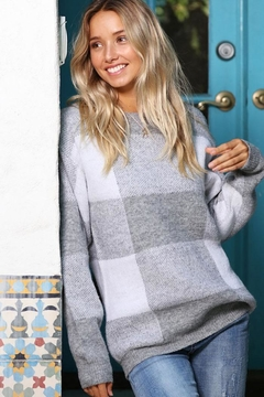 Wanna B Checkered Plaid Knit Pullover Sweater - Product List Image
