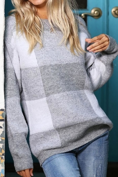 Wanna B Checkered Plaid Knit Pullover Sweater - Alternate List Image