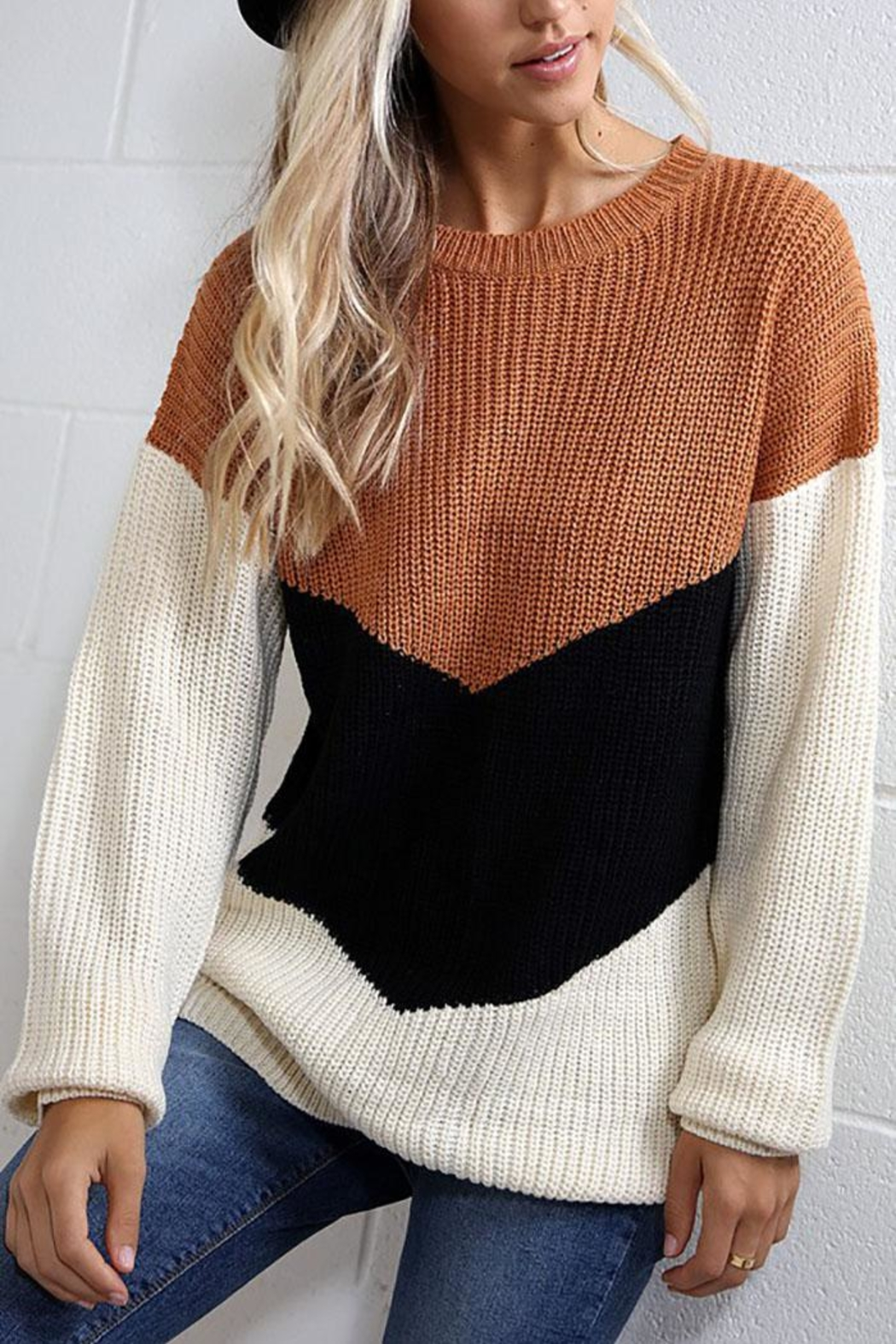 Wanna B Chevron Colorblock Knit Pullover Sweater Top - Main Image