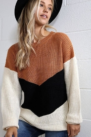 Wanna B Chevron Colorblock Knit Pullover Sweater Top - Front full body
