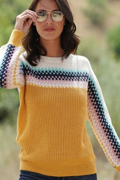 Mint Cloud Boutique Colorful Multi Color Colorblock And Stripe Knit Pullover Sweater - Product List Image