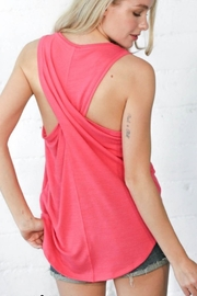 Wanna B Coral Twist Back Top - Front full body
