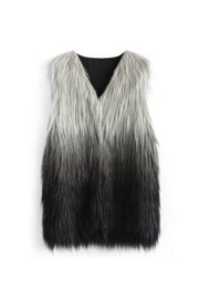 Wanna B Dip-Dyed Faux-Fur Vest - Front cropped