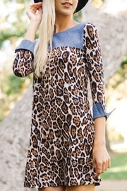 Wanna B Leopard Chambray Dress - Product Mini Image
