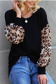 Wanna B Leopard Puff Sleeve Top - Front cropped