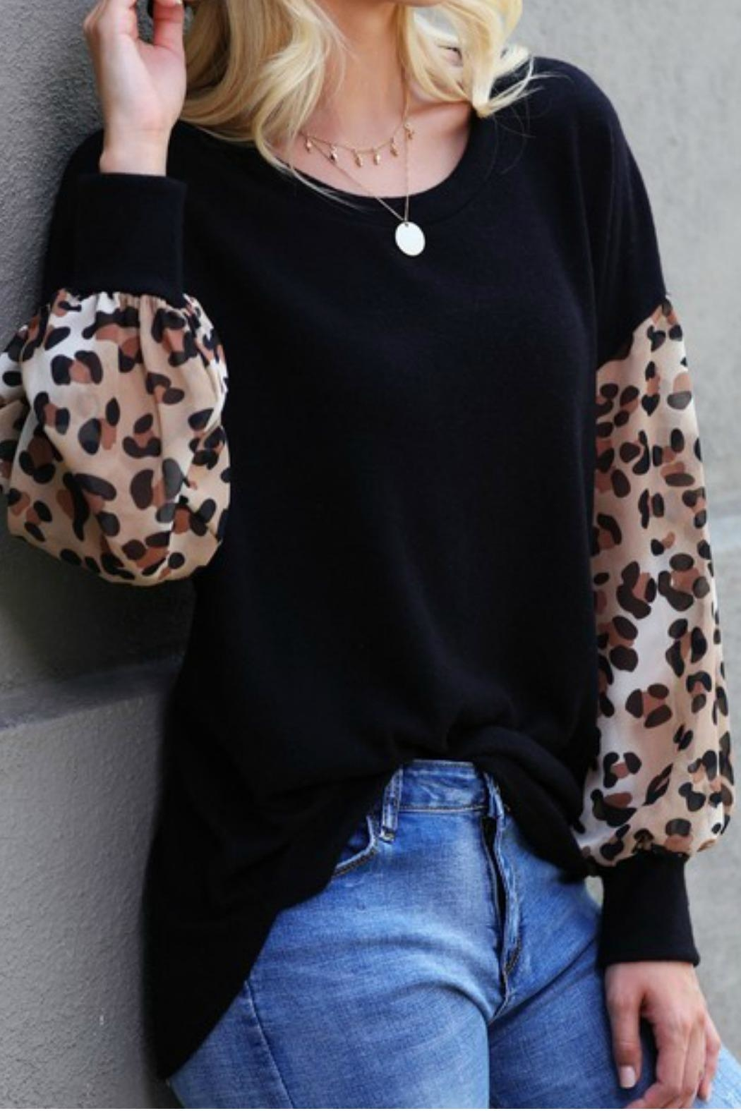 Wanna B Leopard Puff Sleeve Top - Back Cropped Image
