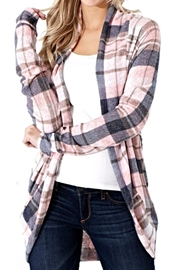 Wanna B Pink Plaid Cardigan - Product Mini Image