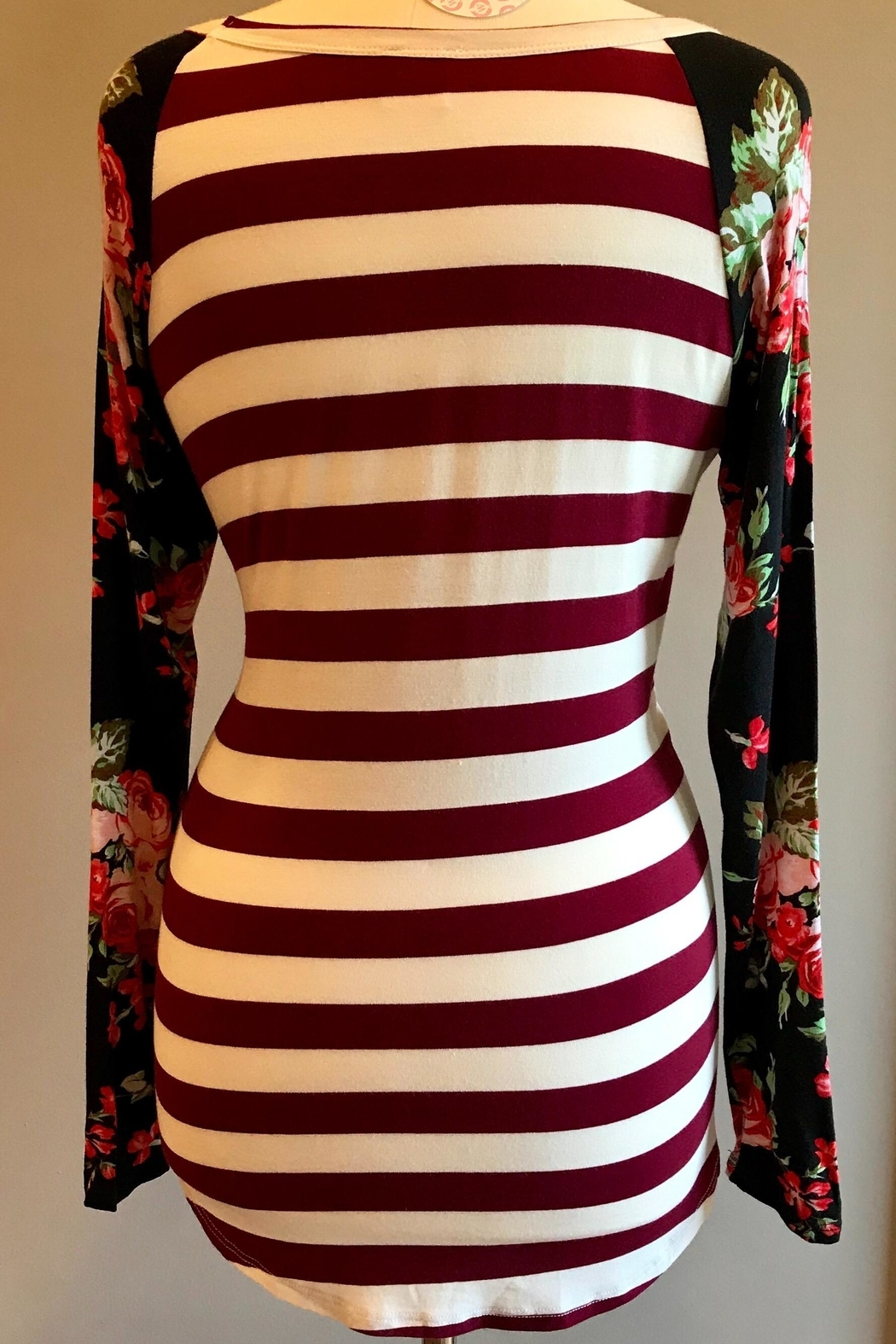 Wanna B Stripe Floral Top - Back Cropped Image