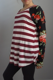 Wanna B Stripe Floral Top - Product Mini Image