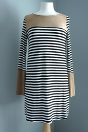 Wanna B Suede-Accent Striped Dress - Product Mini Image
