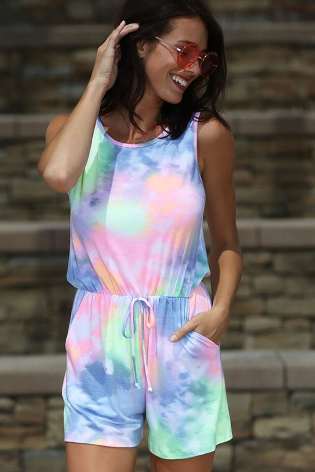 Wanna B Waffle Tie Dye One Piece Romper - Front Full Image