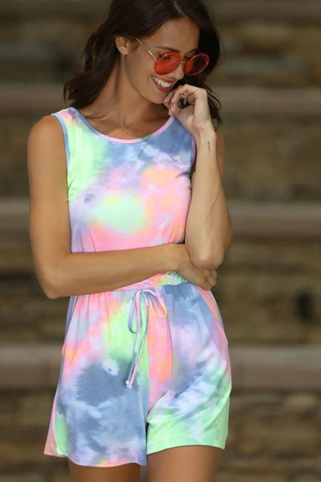 Wanna B Waffle Tie Dye One Piece Romper - Back Cropped Image