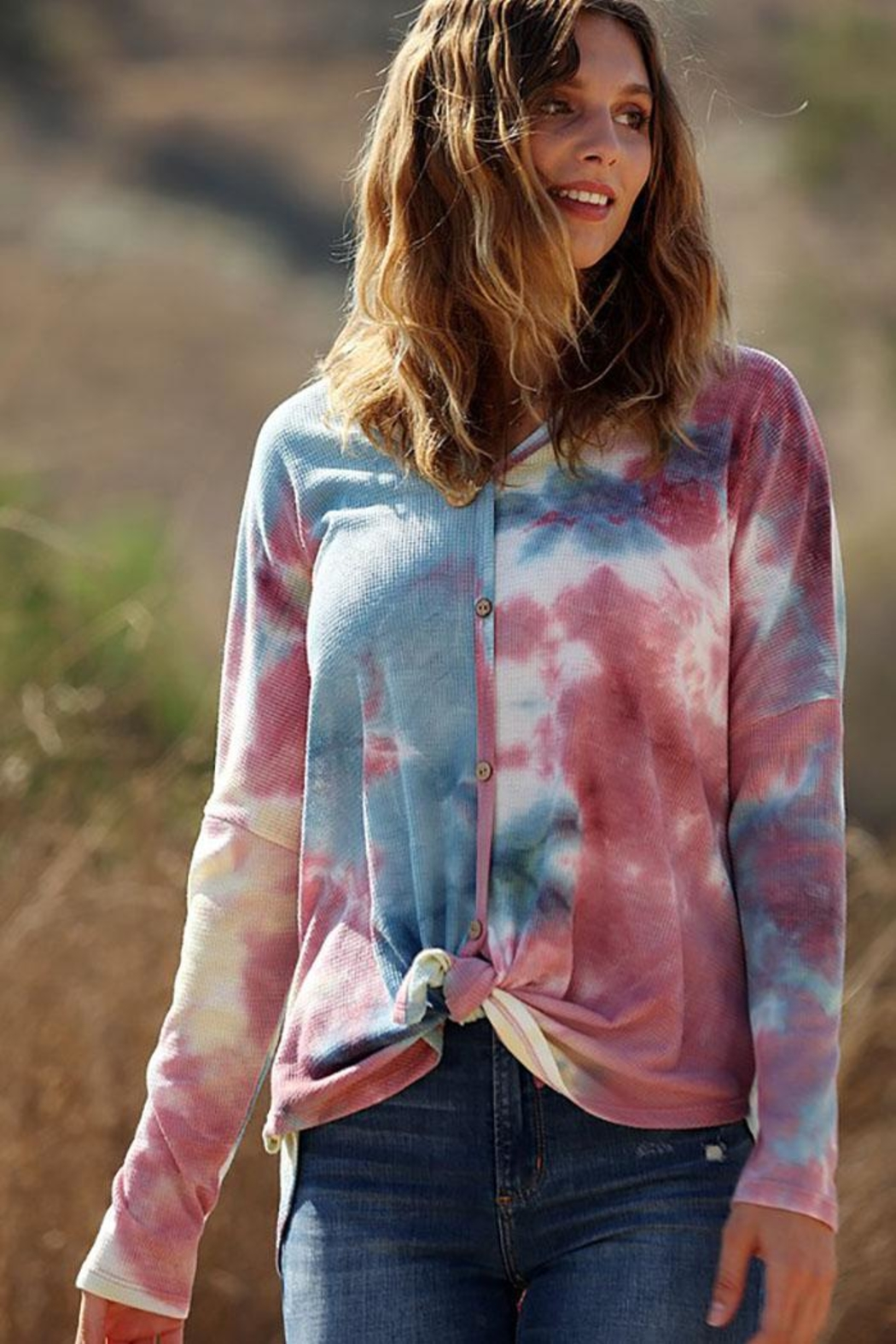 Wanna B Waffle Tie Dye Top - Front Full Image