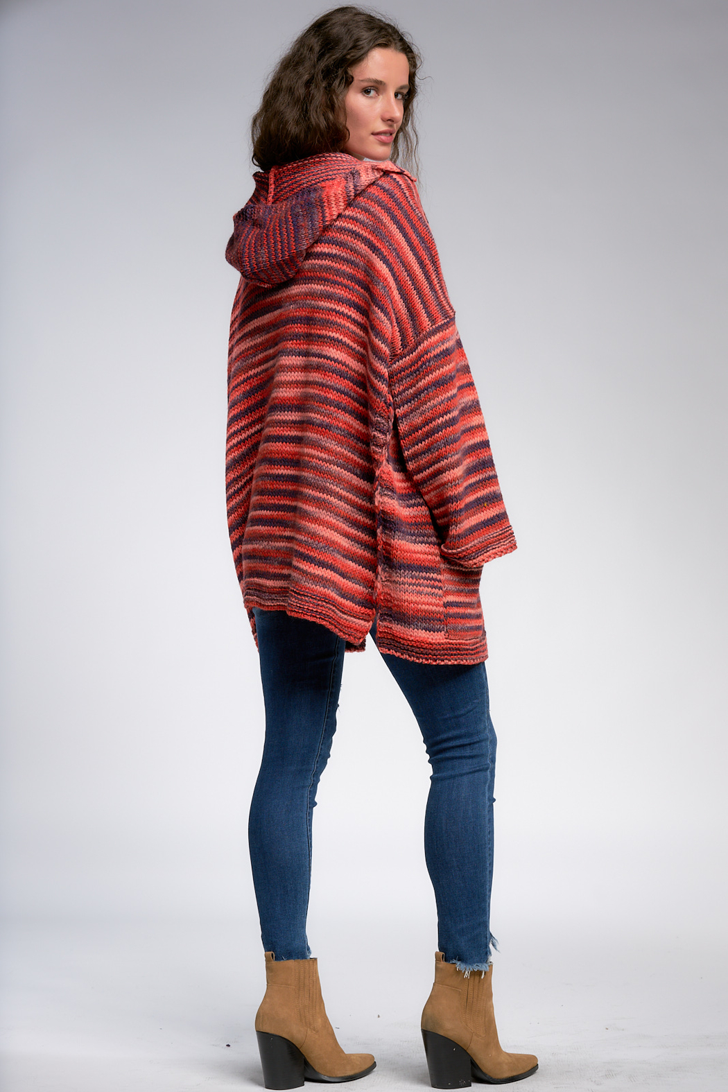 Elan Warm Wishes Hooded Open Cardigan - Side Cropped Image