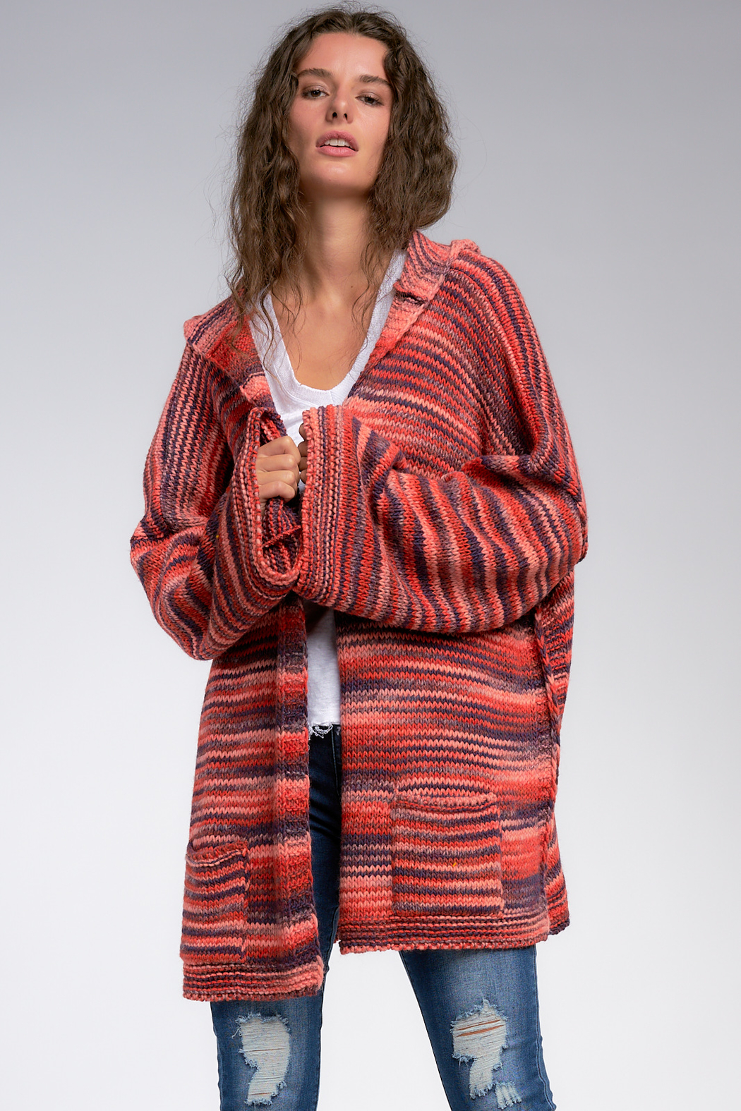 Elan Warm Wishes Hooded Open Cardigan - Front Full Image