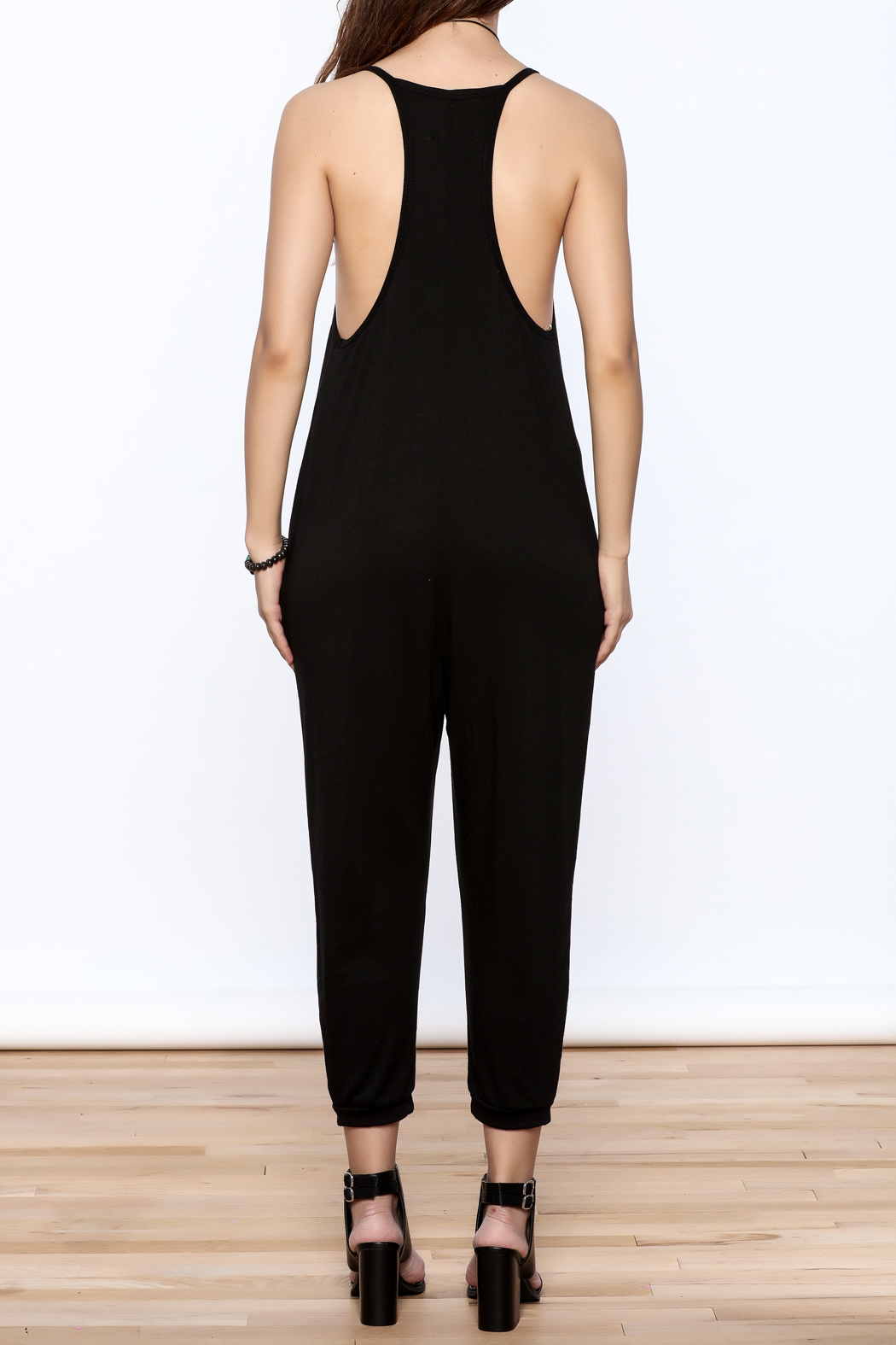 Wasabi + Mint Black Slouch Jumpsuit - Back Cropped Image