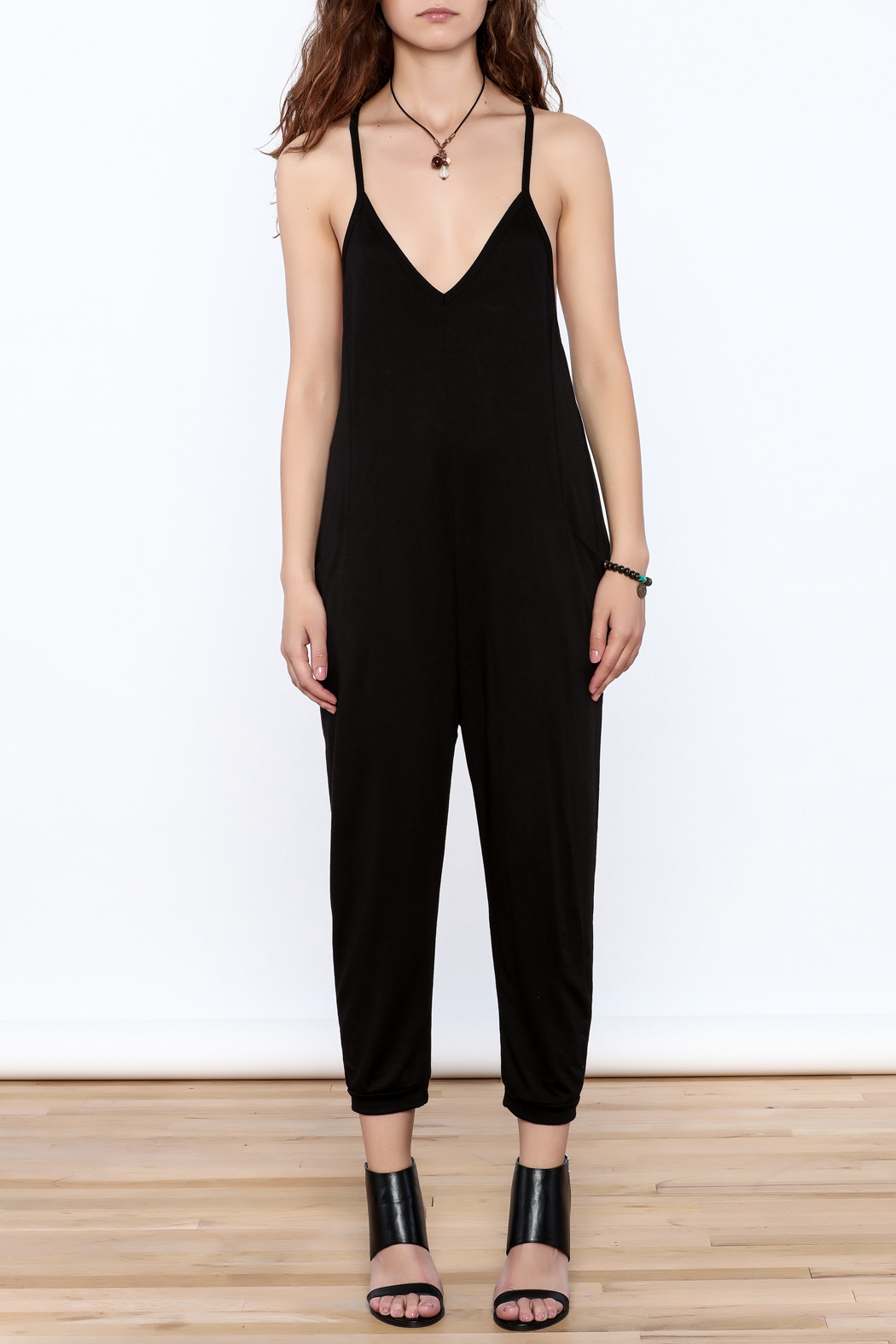 Wasabi + Mint Black Slouch Jumpsuit - Front Cropped Image