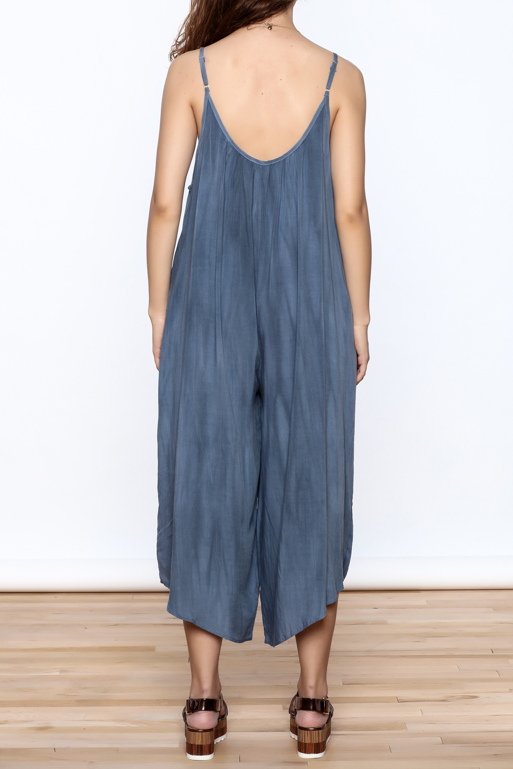Wasabi + Mint Blue Harem Jumpsuit - Back Cropped Image