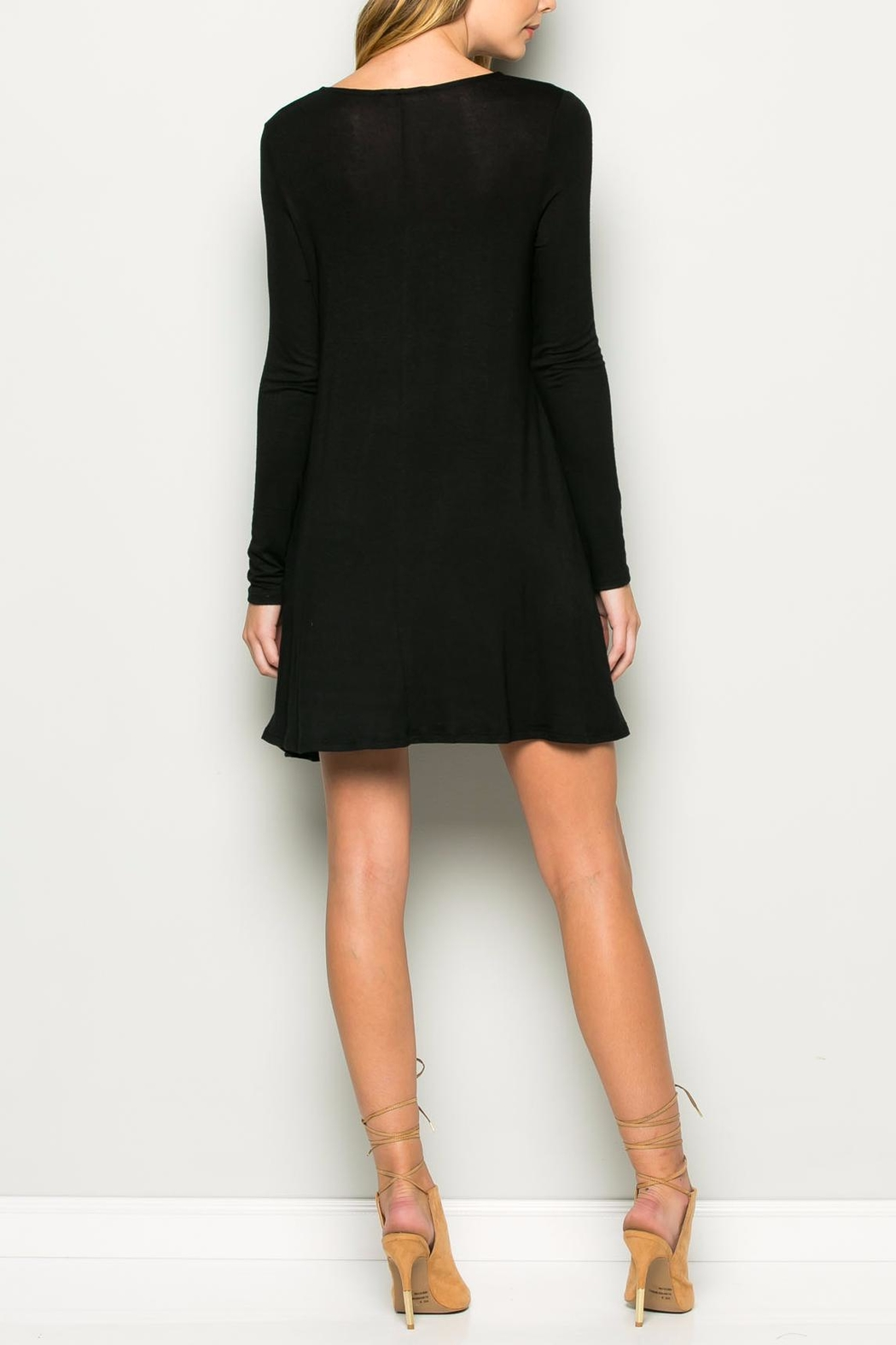 Wasabi + Mint Black A line Dress - Side Cropped Image