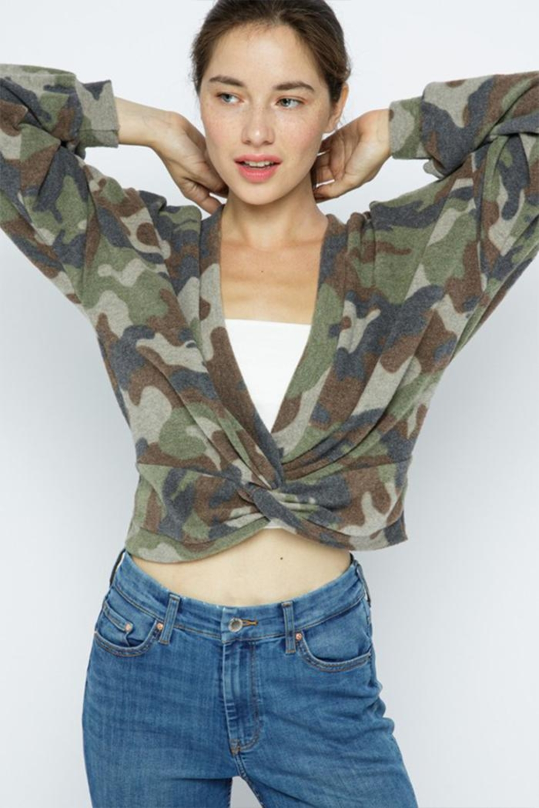 Wasabi + Mint Brushed Camouflage Top - Front Full Image