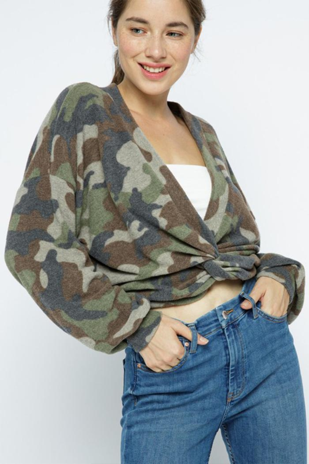 Wasabi + Mint Brushed Camouflage Top - Main Image
