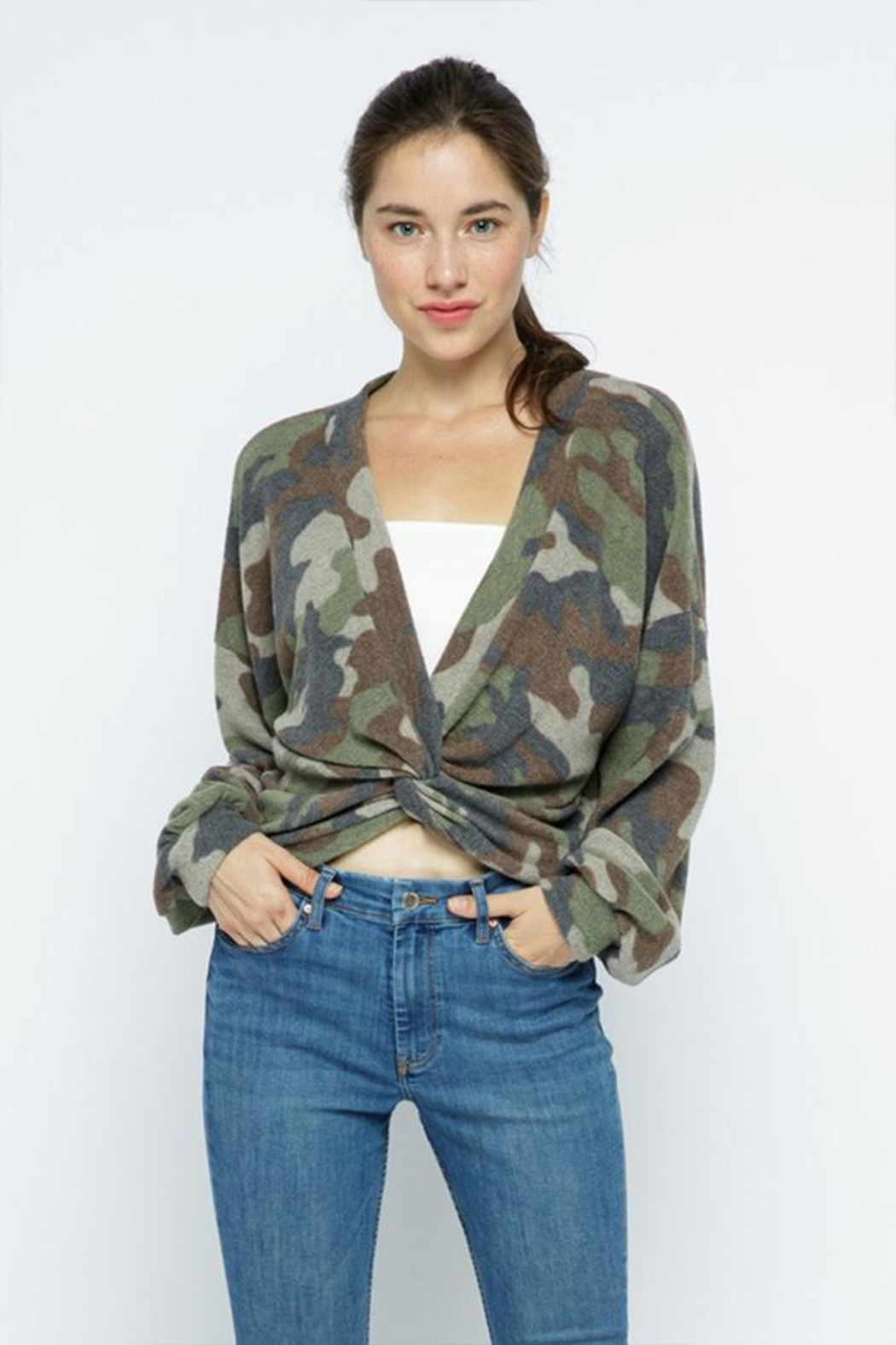 Wasabi + Mint Brushed Camouflage Top - Side Cropped Image