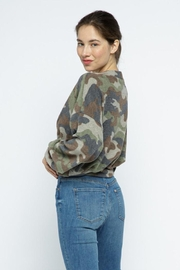 Wasabi + Mint Brushed Camouflage Top - Back cropped