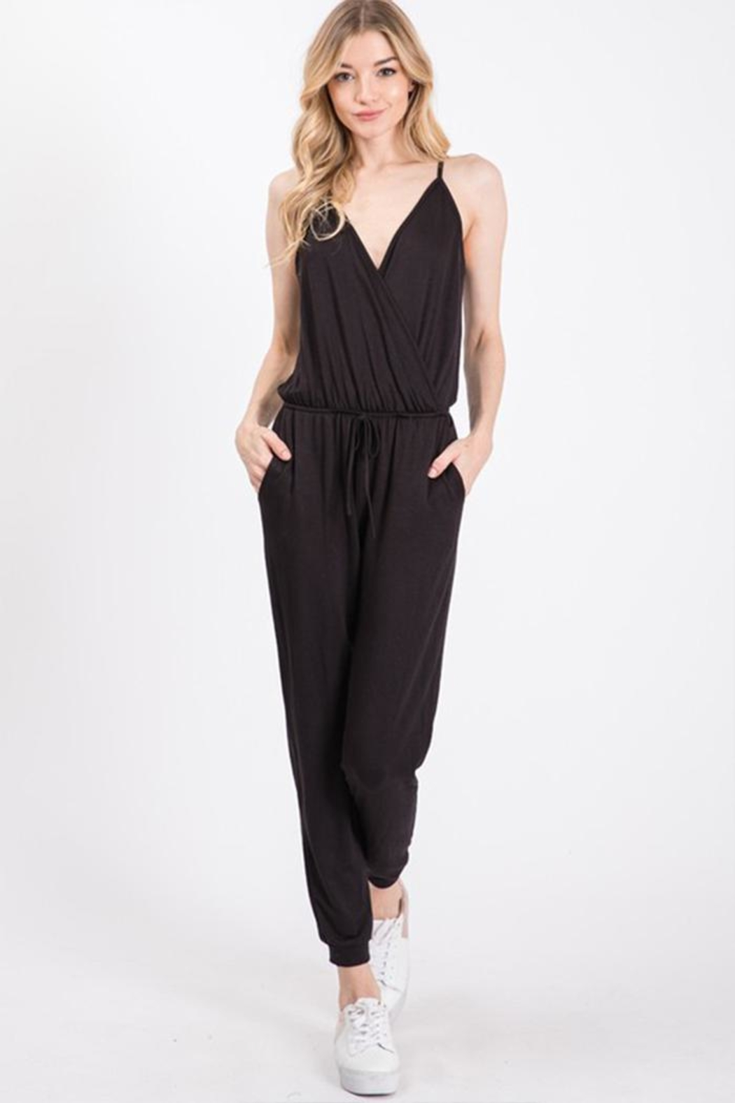 Wasabi + Mint Crossover Jersey Jumpsuit - Main Image