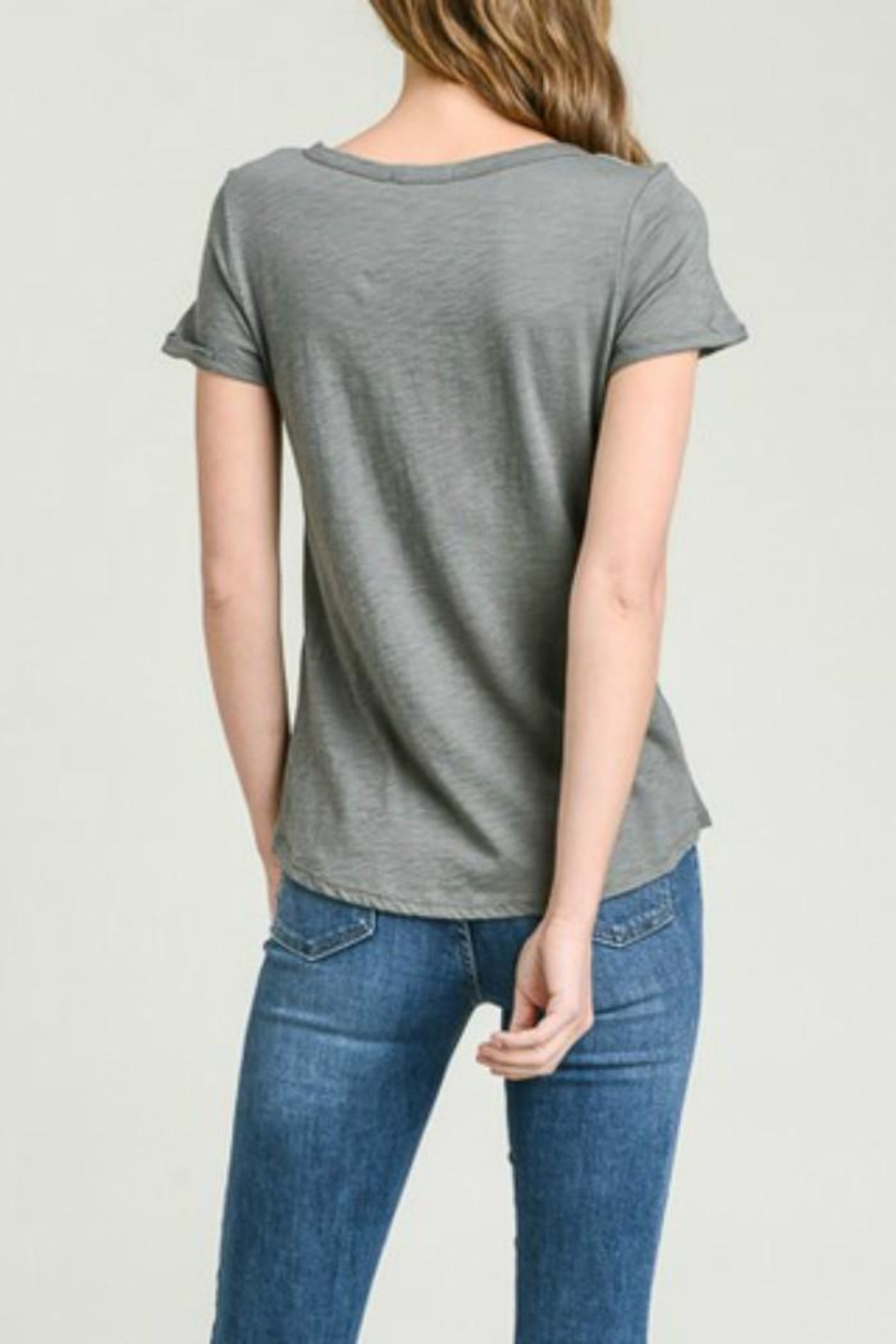 Wasabi + Mint Cutout V-Neck Tee - Front Full Image