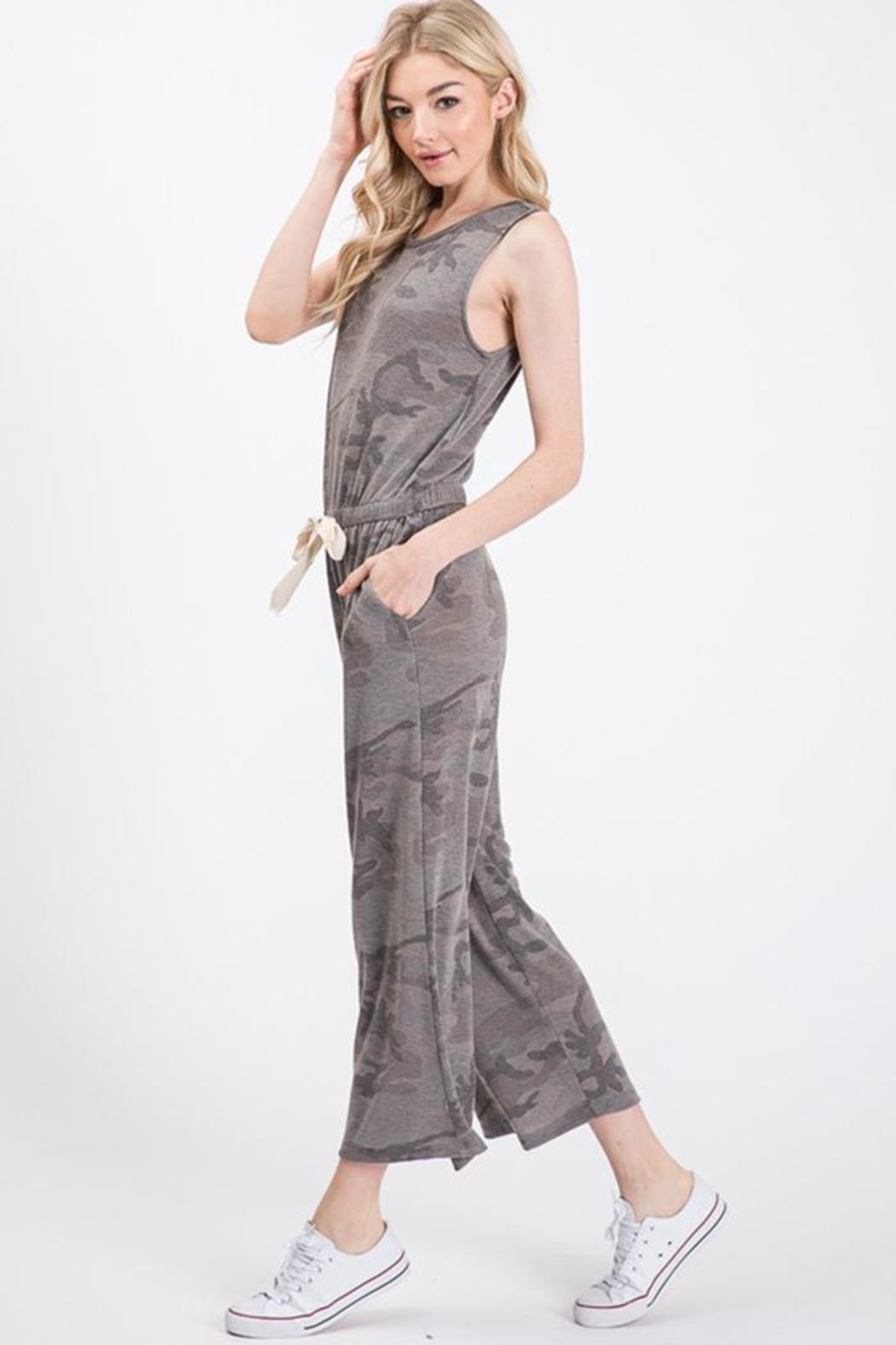 Wasabi + Mint Grey Camo Jumpsuit - Front Full Image