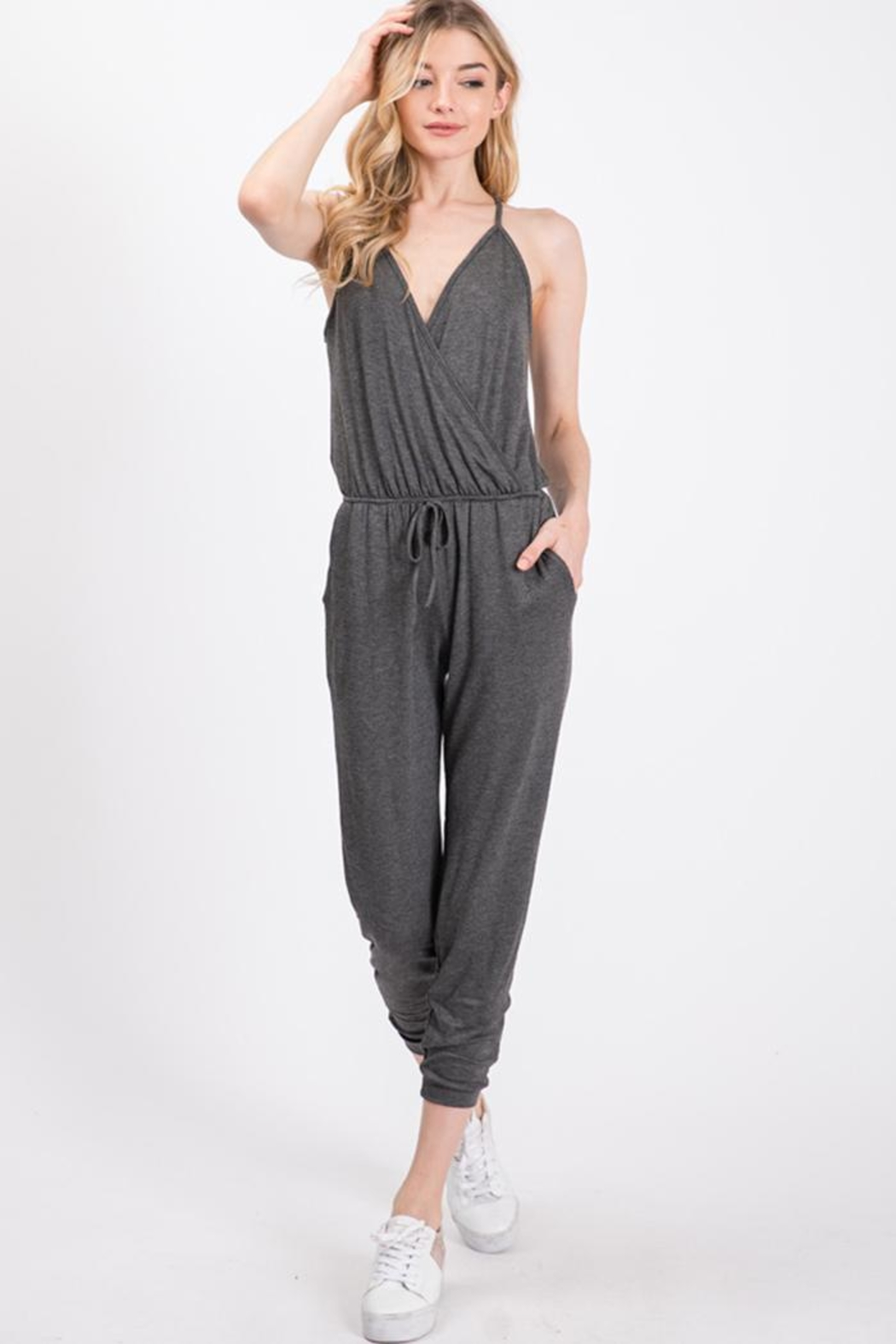Wasabi + Mint Grey Knit Jumpsuit - Front Cropped Image