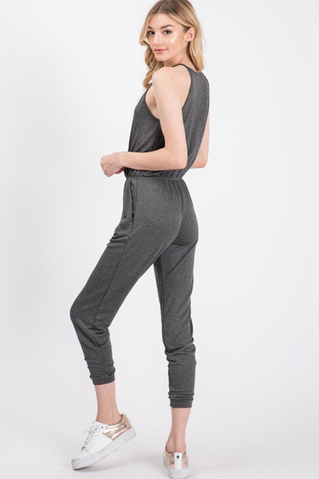 Wasabi + Mint Grey Knit Jumpsuit - Front Full Image