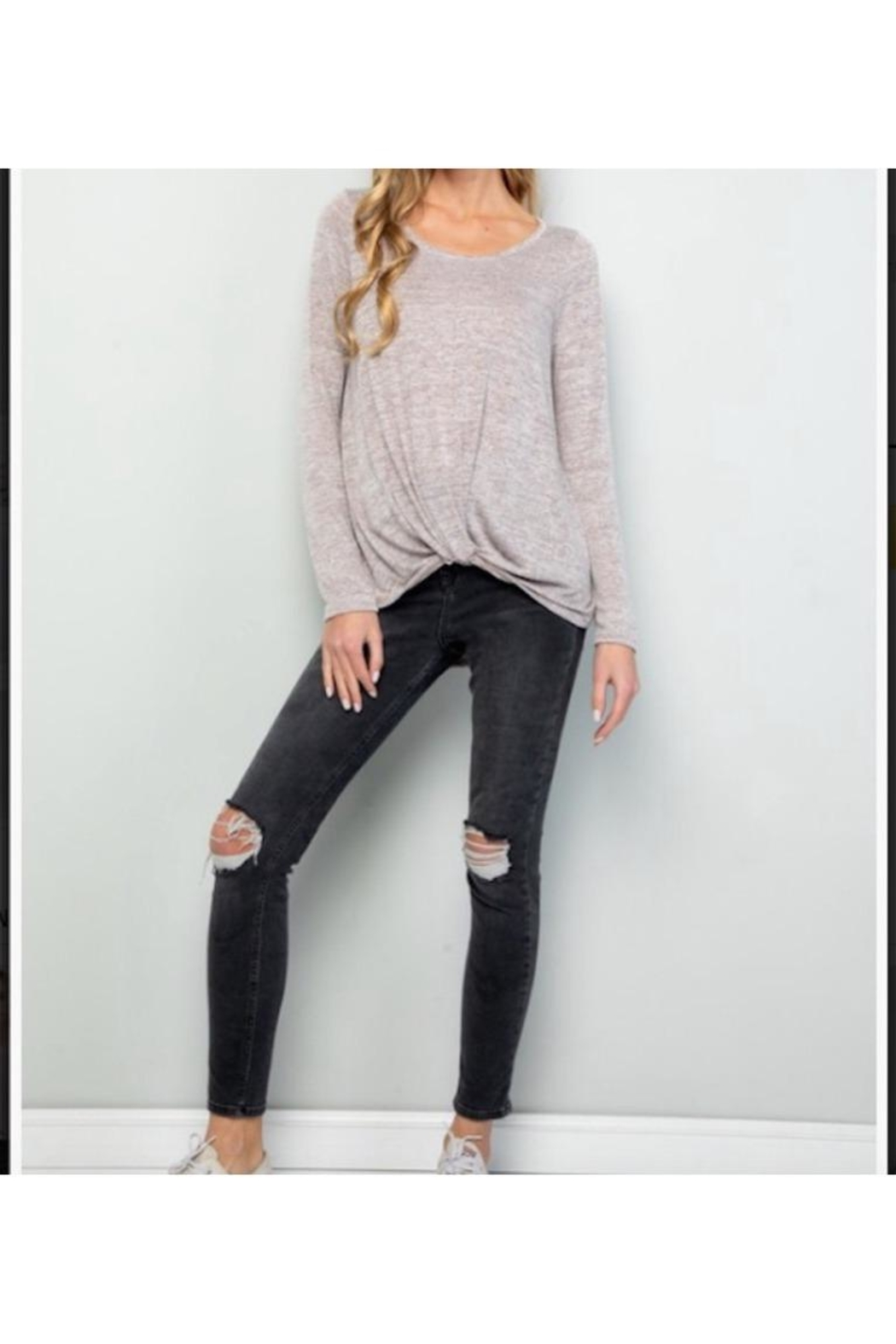 Wasabi + Mint Marled Front Knot Long Sleeve Top - Front Cropped Image