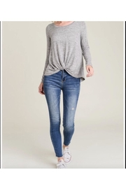 Wasabi + Mint Marled Front Knot Long Sleeve Top - Product Mini Image