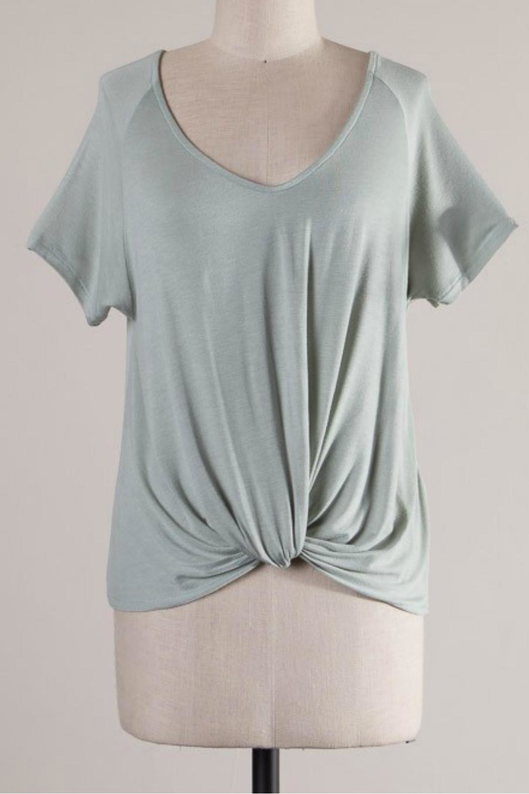 Wasabi + Mint Raglan Knot Tee - Front Cropped Image