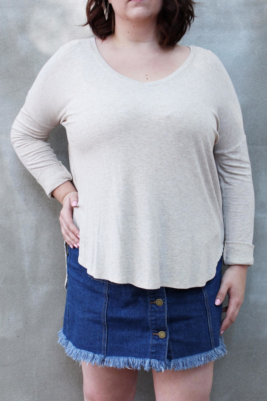 Wasabi + Mint Ribbed V Neck Top - Main Image