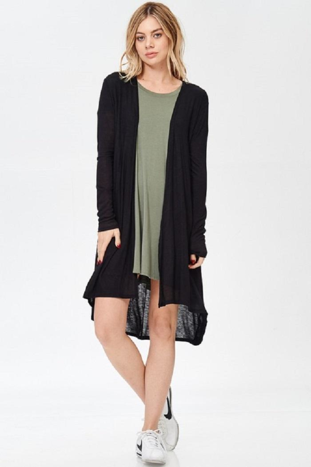 Wasabi + Mint Solid Long Cardigan - Front Cropped Image