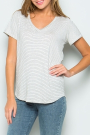 Wasabi + Mint Stripe V Neck Top - Product Mini Image