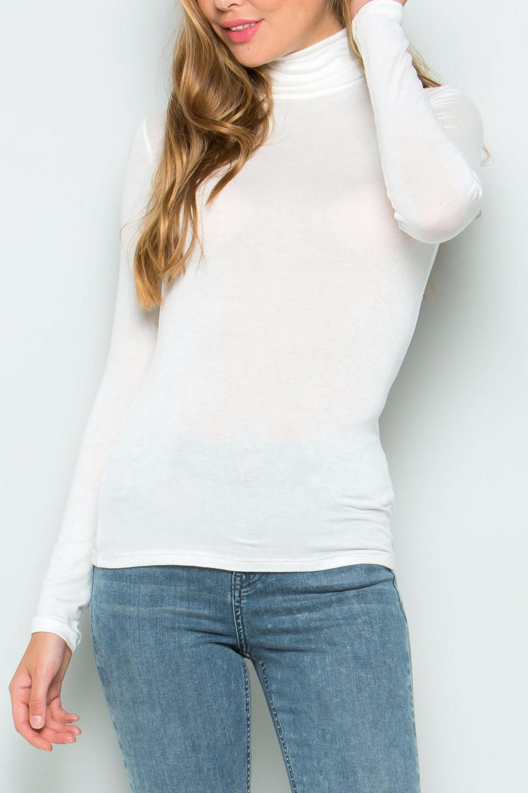 Wasabi + Mint White Turtle Neck Sweater - Front Cropped Image