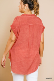 umgee  WASHED BUTTON UP SHORT SLEEVE - Front full body